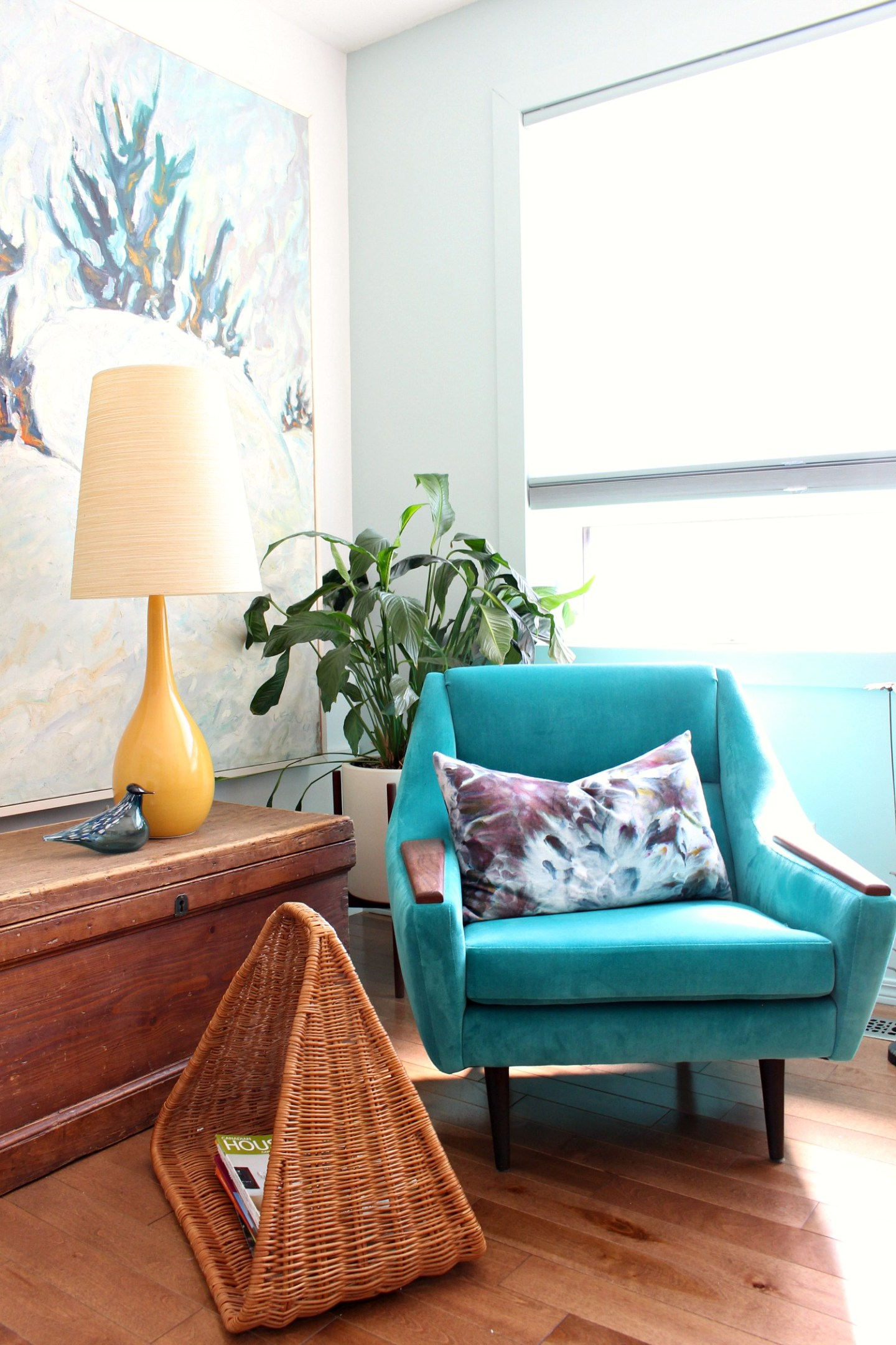 Colorful Home Office with Vintage Teal Velvet Chair