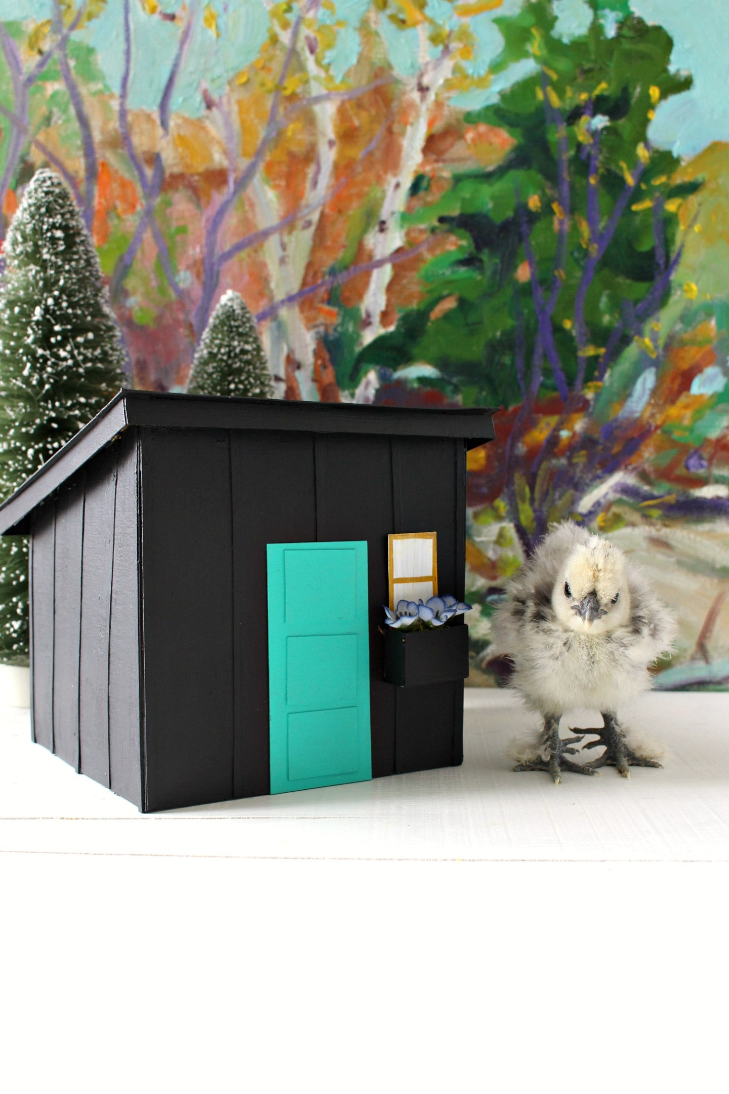 Chick with a Mini Replica of a Modern DIY Chicken Coop