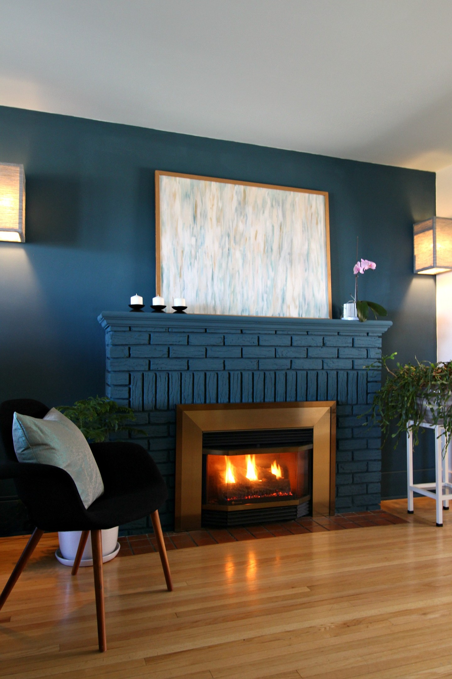 Blue Chalk Painted Fireplace