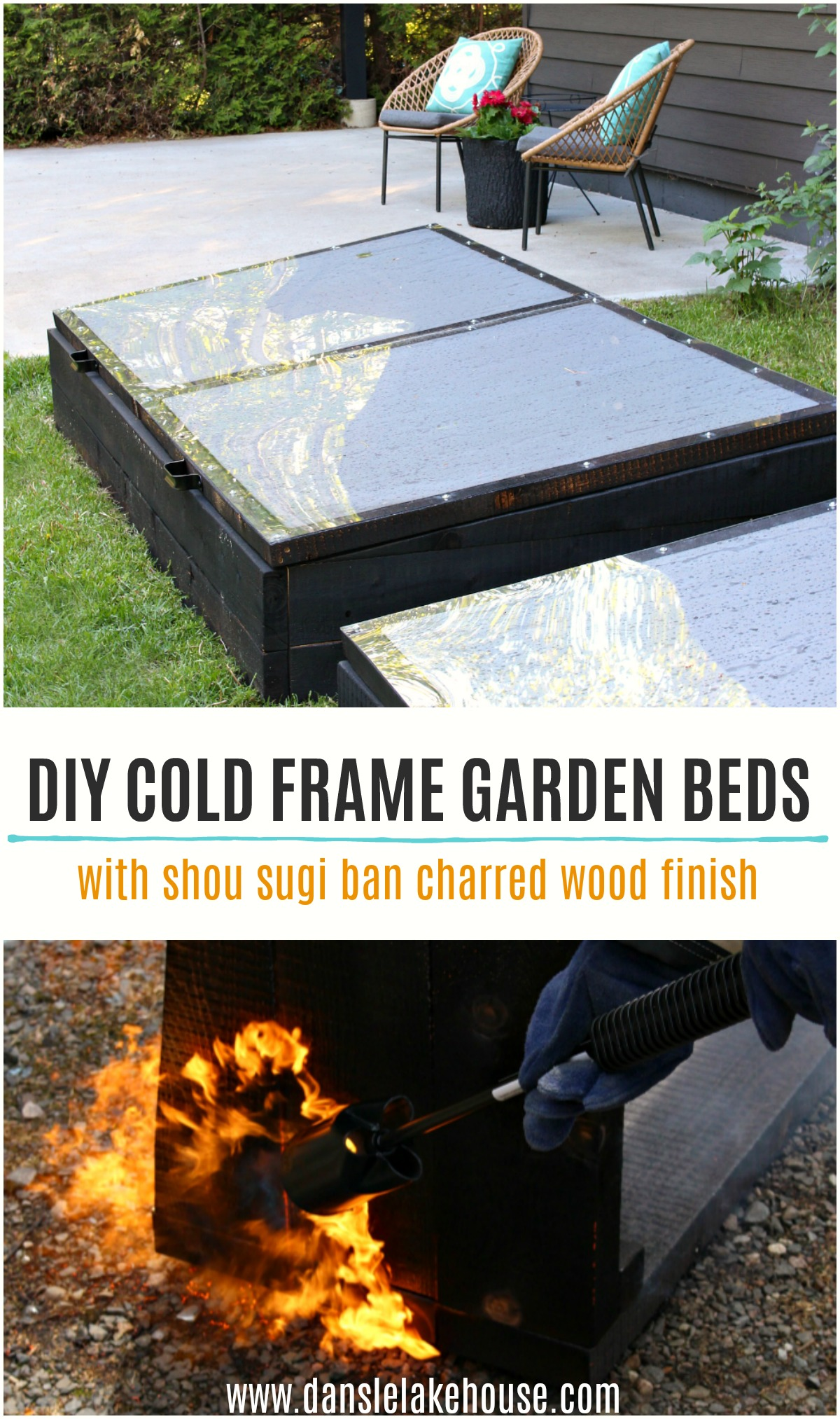 DIY Cold Frame Garden Beds with Shou Sugi Ban Charred Wood Finish