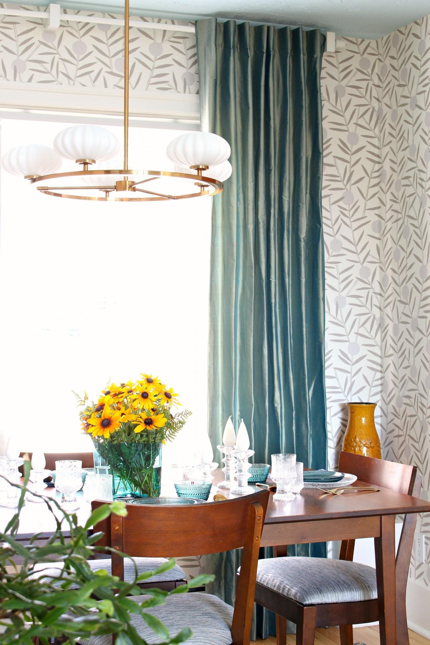DIY silk draperies in dining room