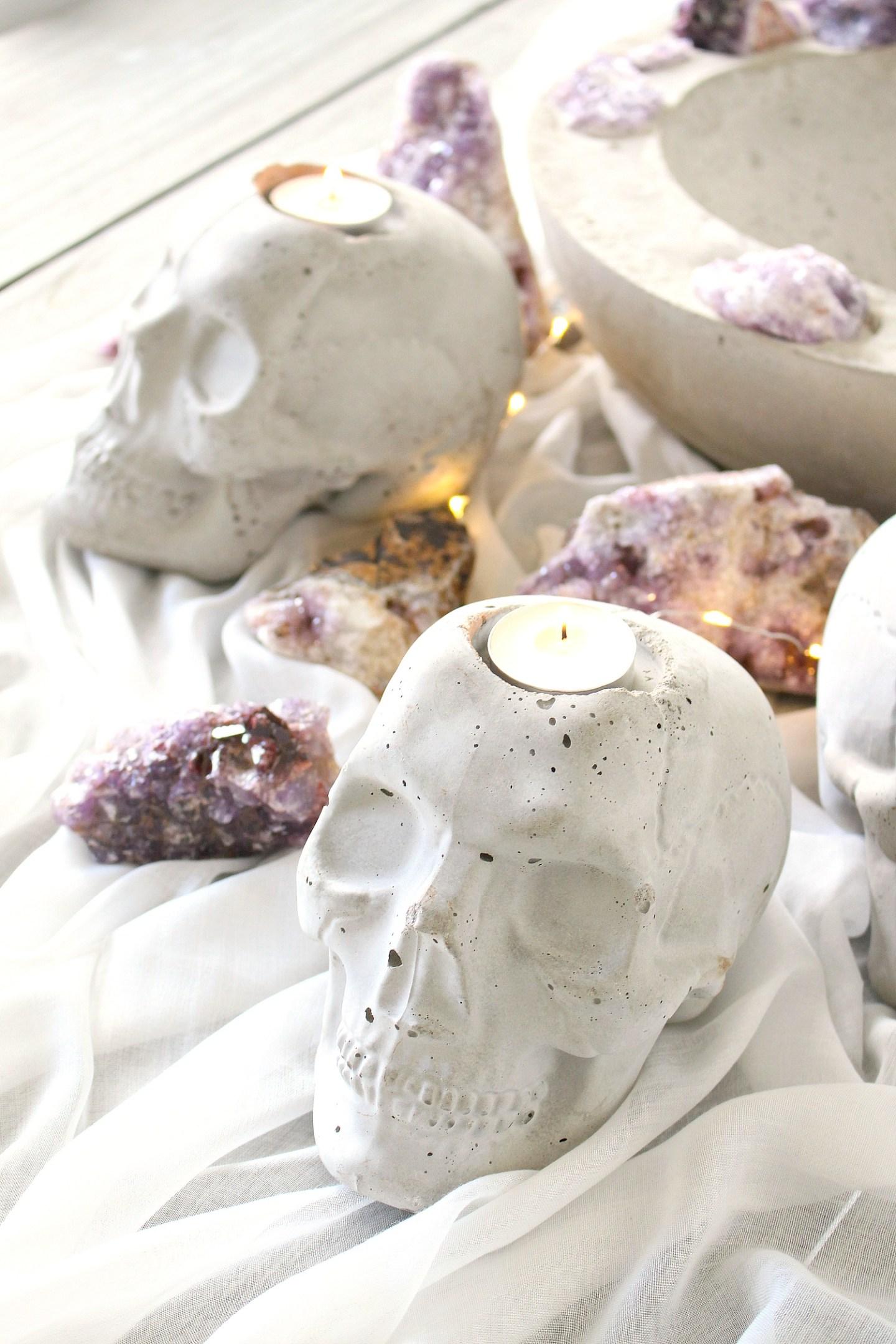 DIY Concrete Skull Candle Holder