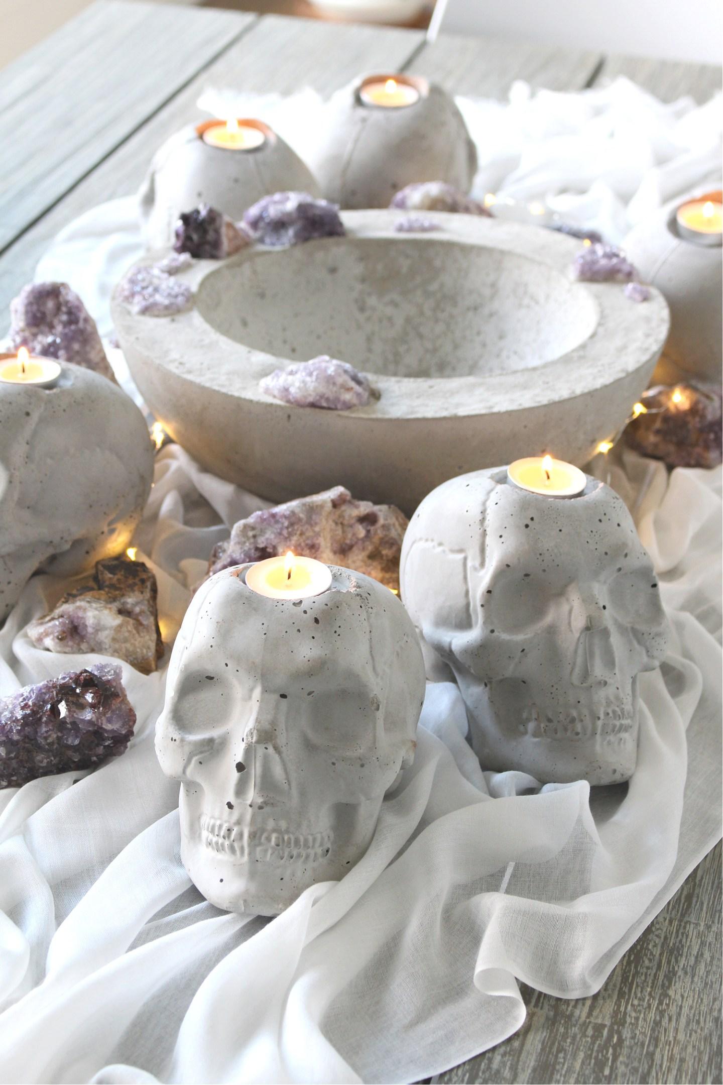DIY Concrete Skull Candle Holder Tutorial