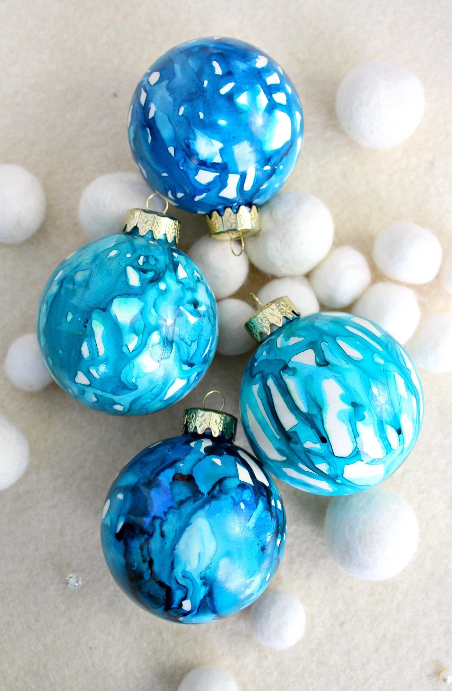 DIY Alcohol Ink Christmas Ornaments