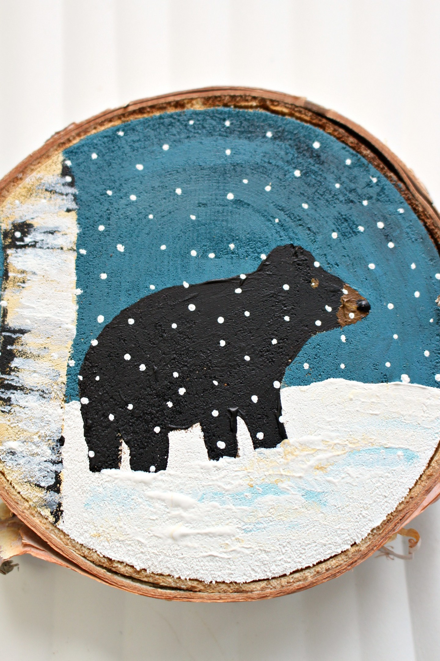 Black Bear Hand Painted Christmas Tree Ornament