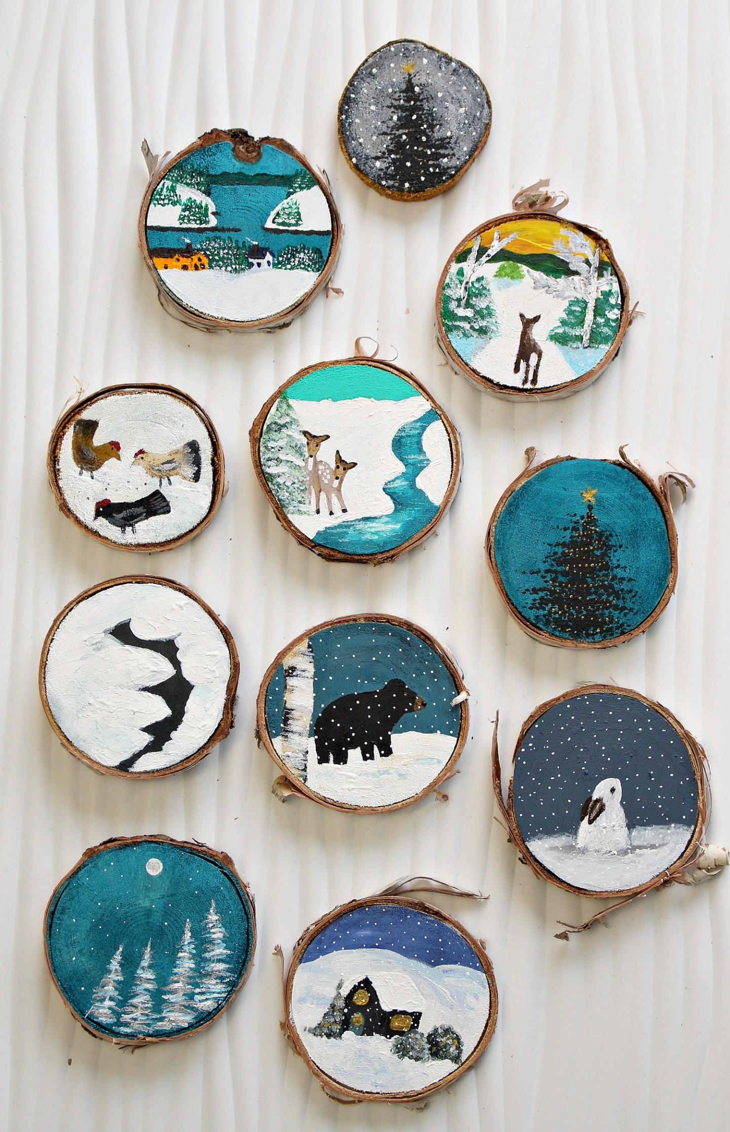 Cute Hand Painted Folk Art Christmas Ornaments