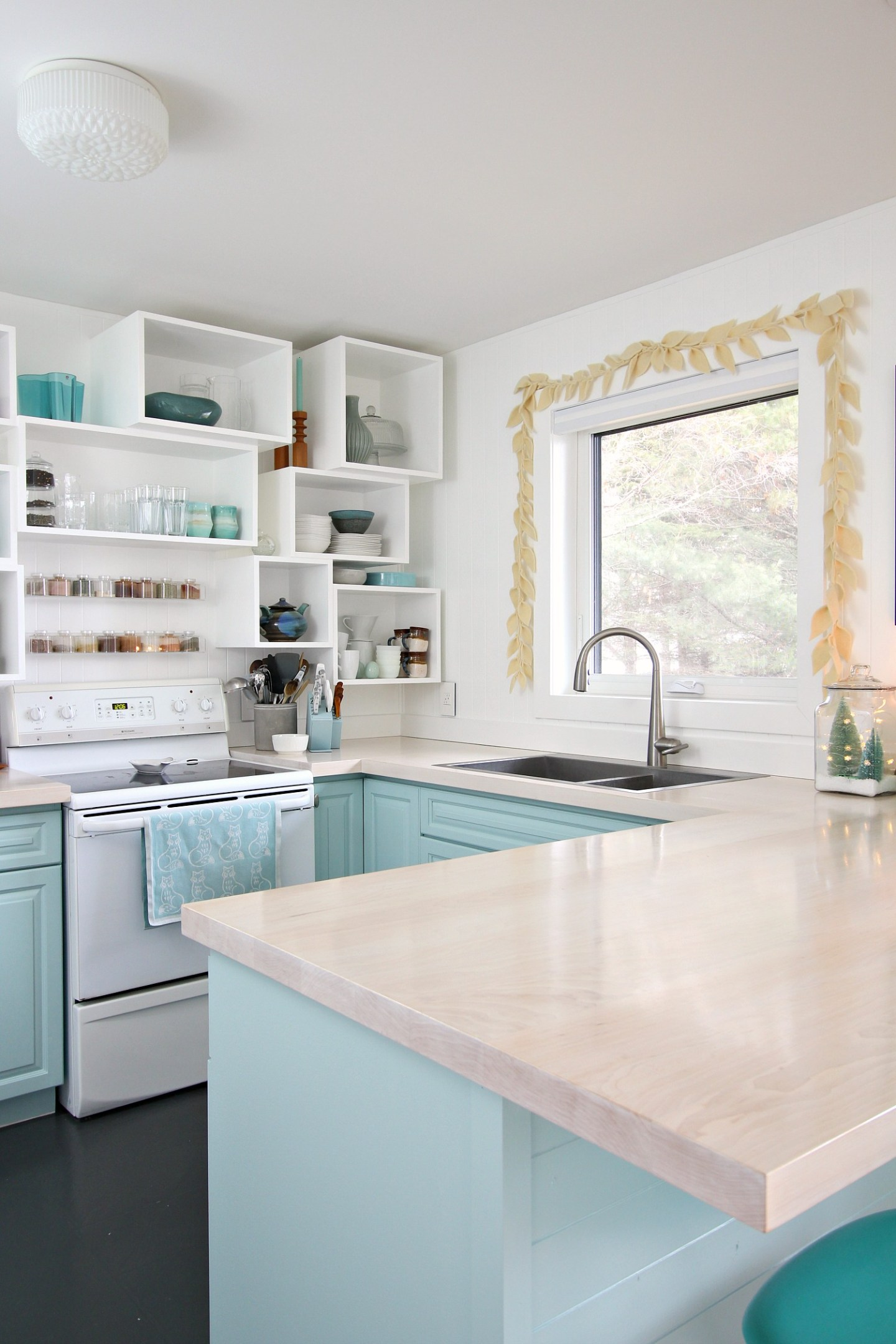 Pale Blue Kitchen Decorated for Christmas
