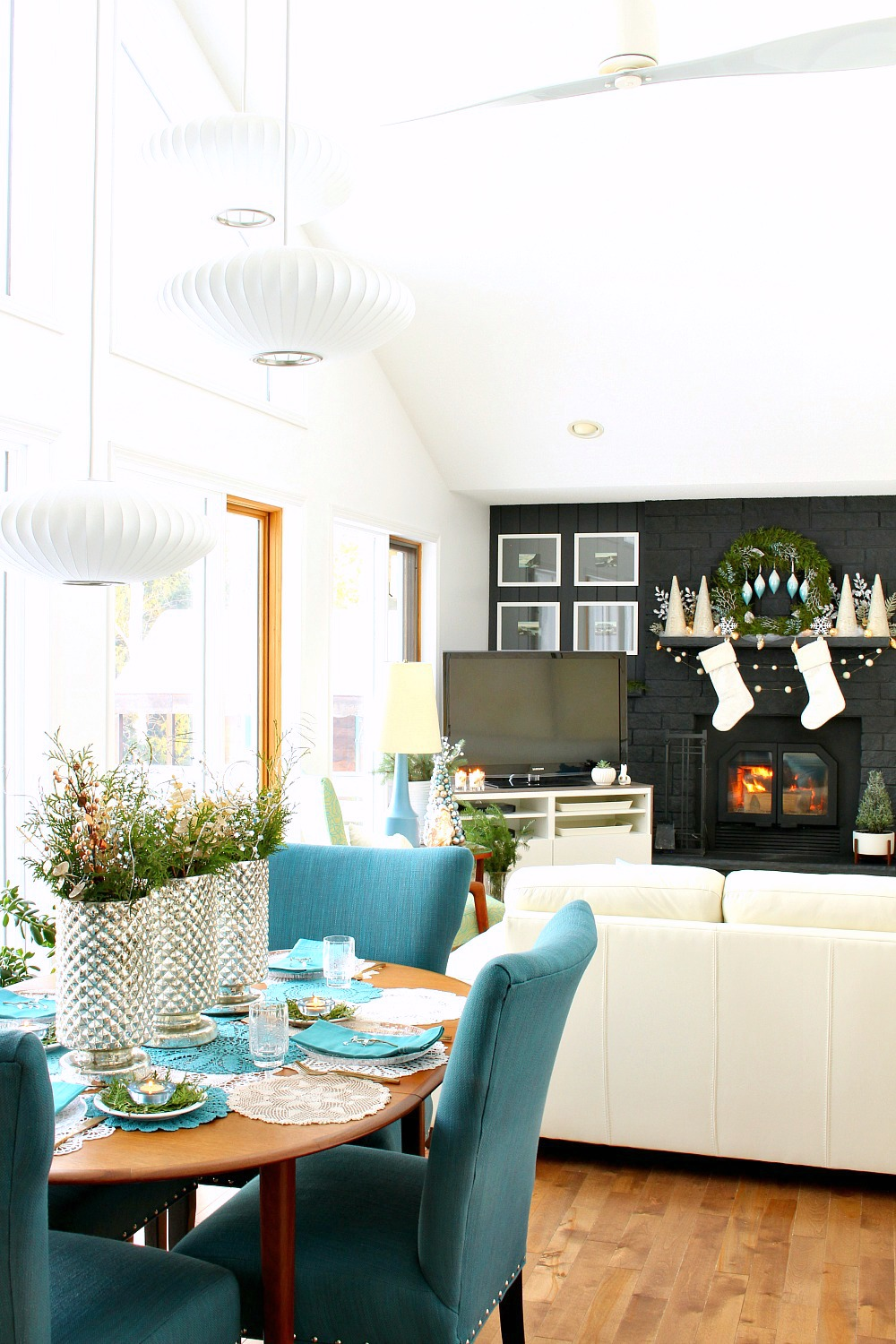Blue and White Wintry Decor