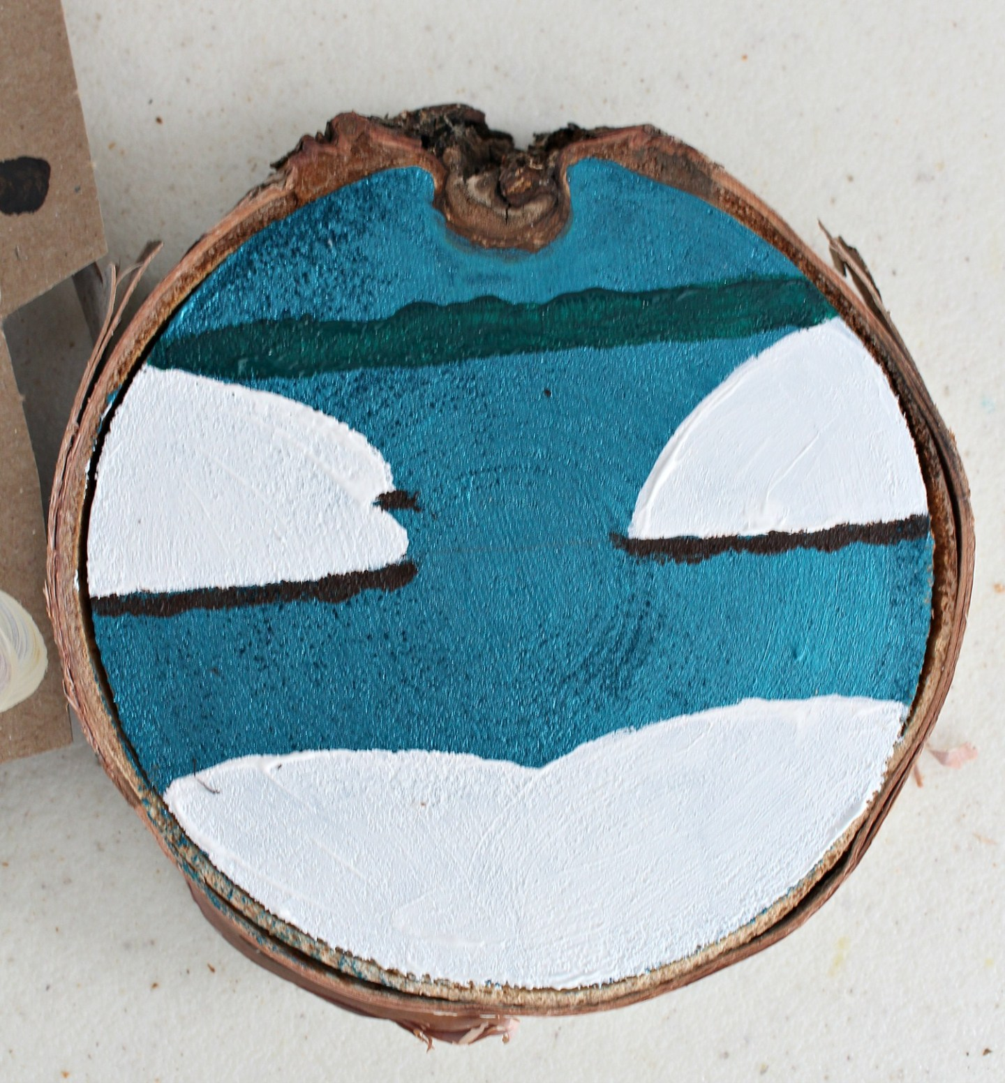 Painted Birch Slice Ornaments