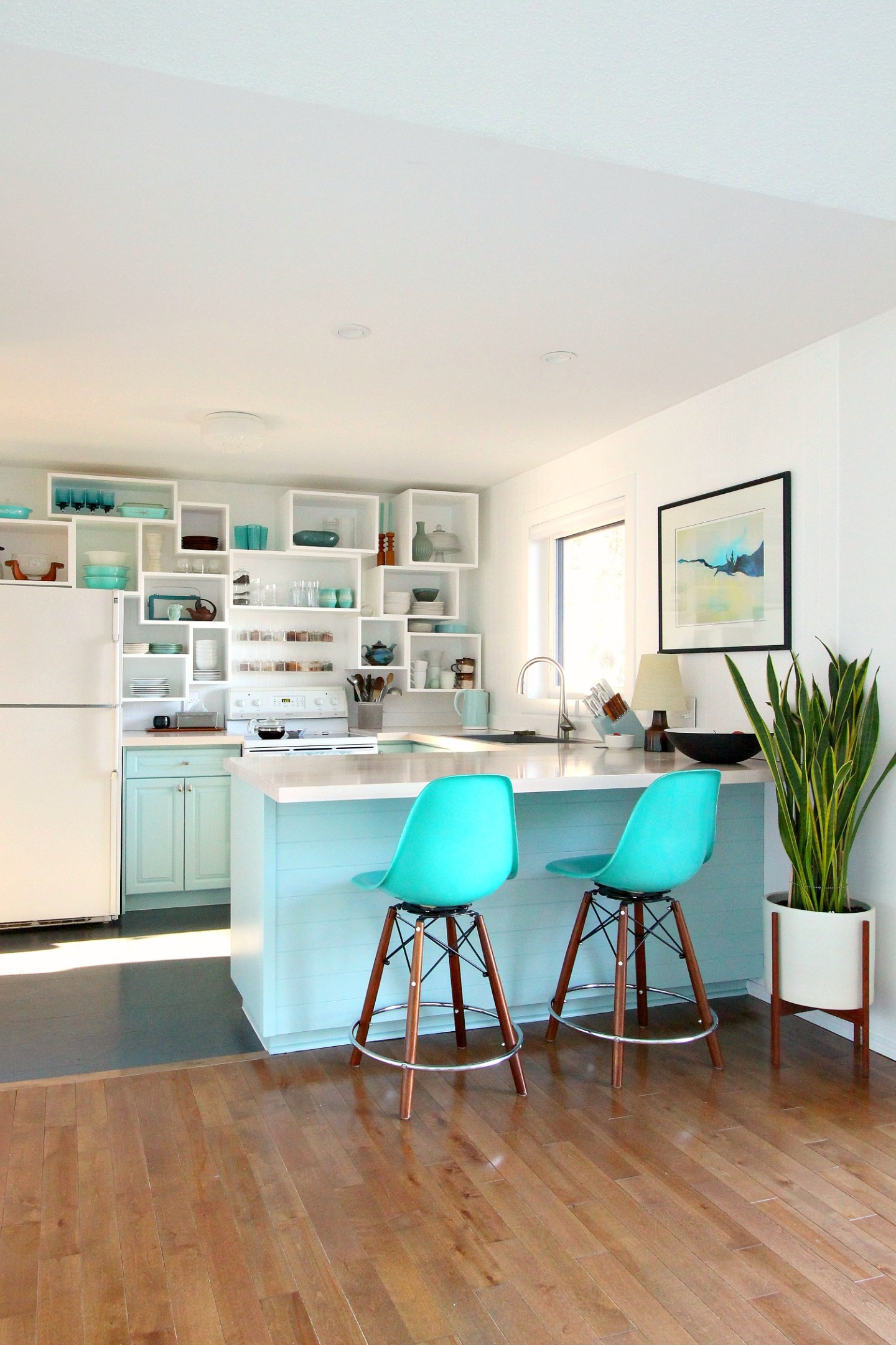 DIY Budget Friendly Coastal Kitchen with Sherwin Williams Watery Cabinets