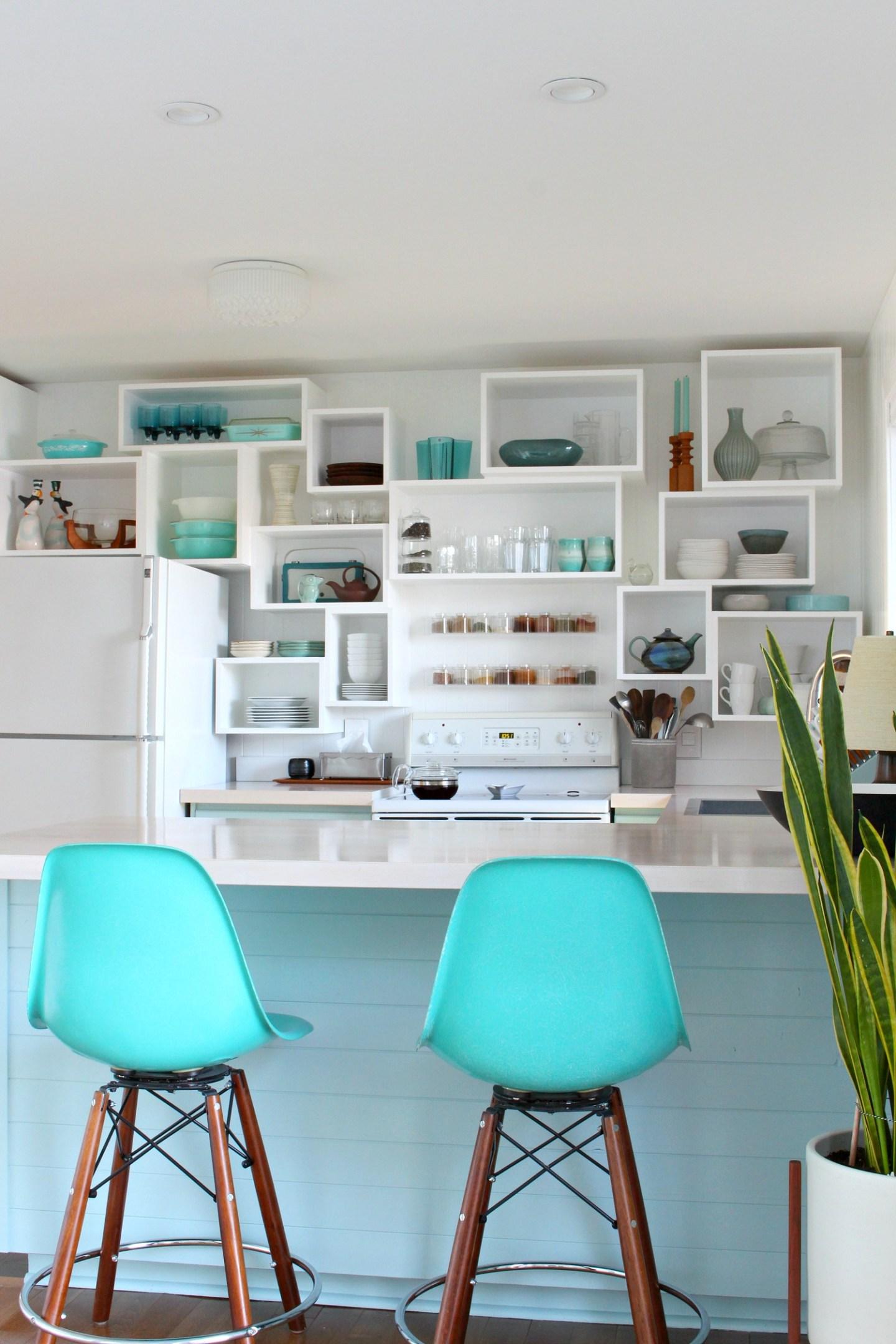 Soft Aqua Kitchen Cabinets