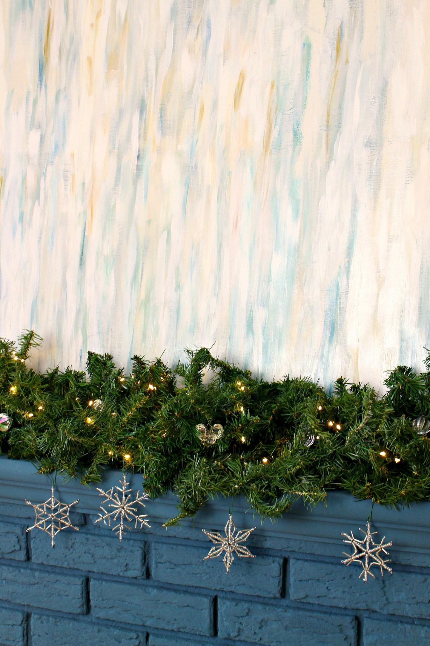 Snow Themed Mantel Decorating