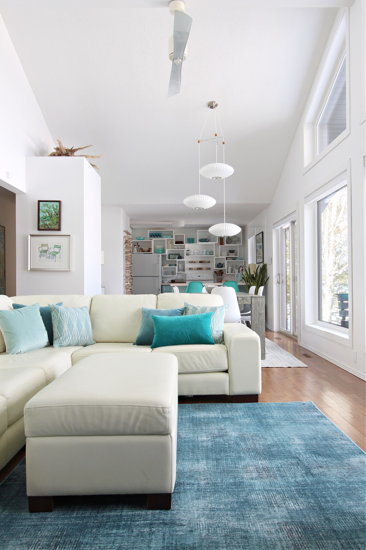 Coastal Open Concept Living and Dining Space