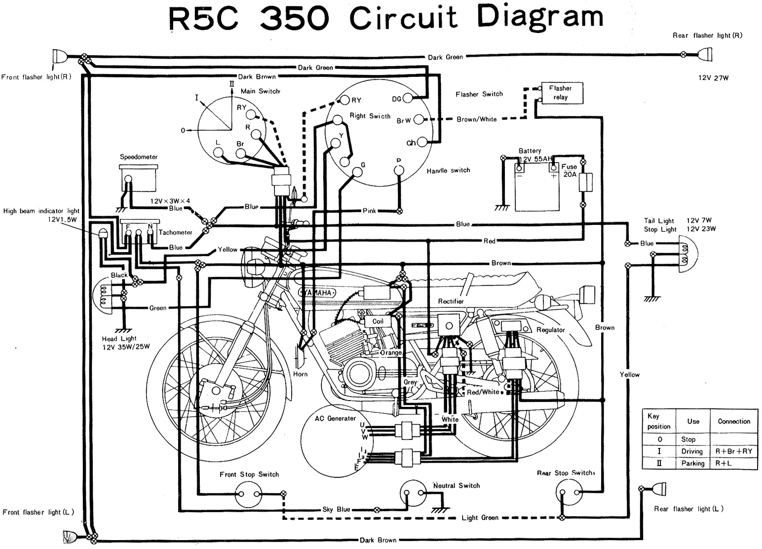 yamaha r5c 350 electrical wiring diagram