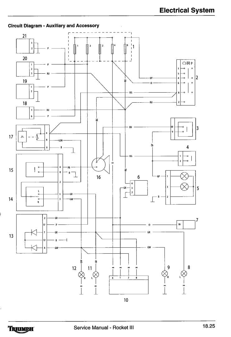 hight resolution of below is the wiring for a triumph rocket iii the auxiliary and accessory circuit diagram the starting and charging circuit diagram the lighting circuit