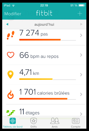 fitbit charge hr application telephone