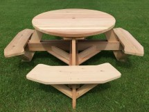 """45"""" Easy-seating Wooden Picnic Table With Benches"""