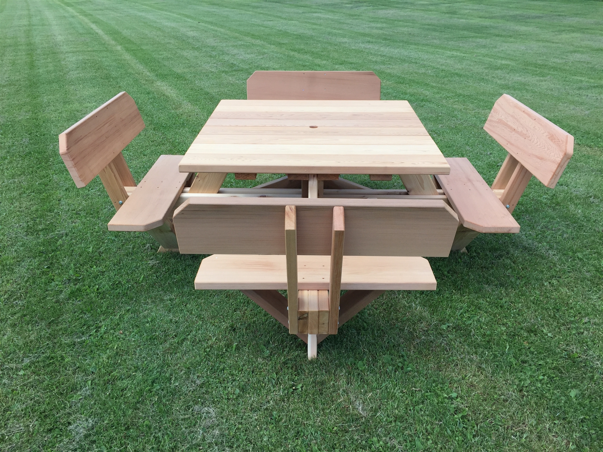 Square Patio Table with Umbrella Hole  45 Picnic Table