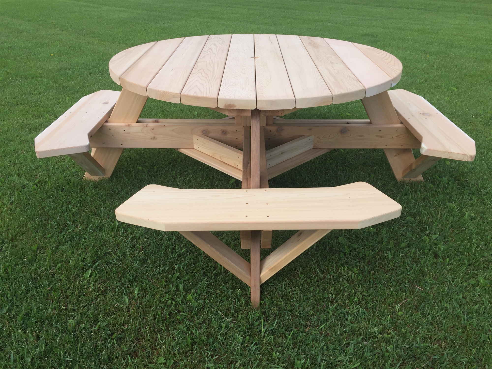 56 Round Cedar Patio Table  Backyard Table w Easy Seating