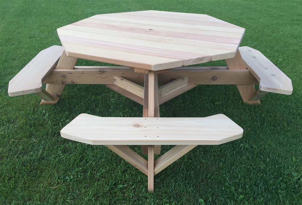 Large 8 Sided Picnic Table  61 Octagon Table for Patios