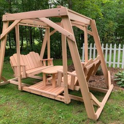 Picnic Time Chairs Solid Oak Dining Framed Four-seat Cedar Swing W/ Center Platform & Table