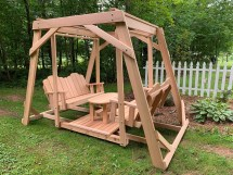 Framed Four-seat Cedar Swing With Center Platform & Table