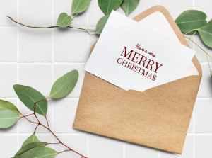 kartka z kopercie z życzeniami wesołych świąt