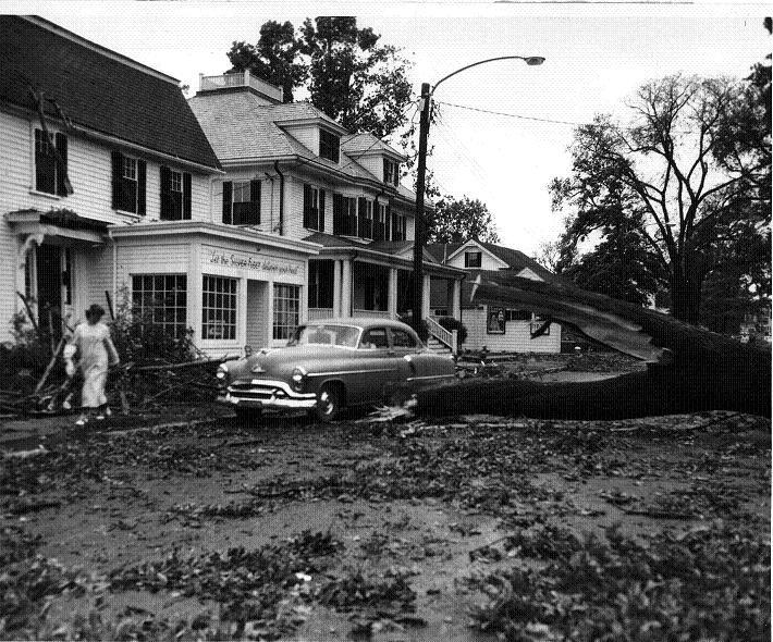 1954 Hurricane damage on Elm Street