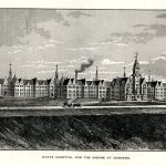 1878 engraving of the State Lunatic Hospital