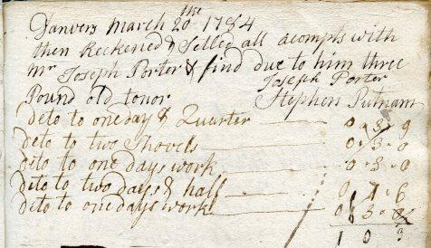 Signature of Joseph Porter in account book of carpenter Steven Putnam