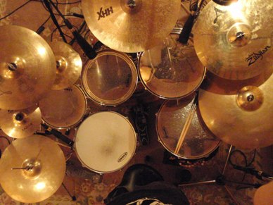 My acoustic drum kit in the studio
