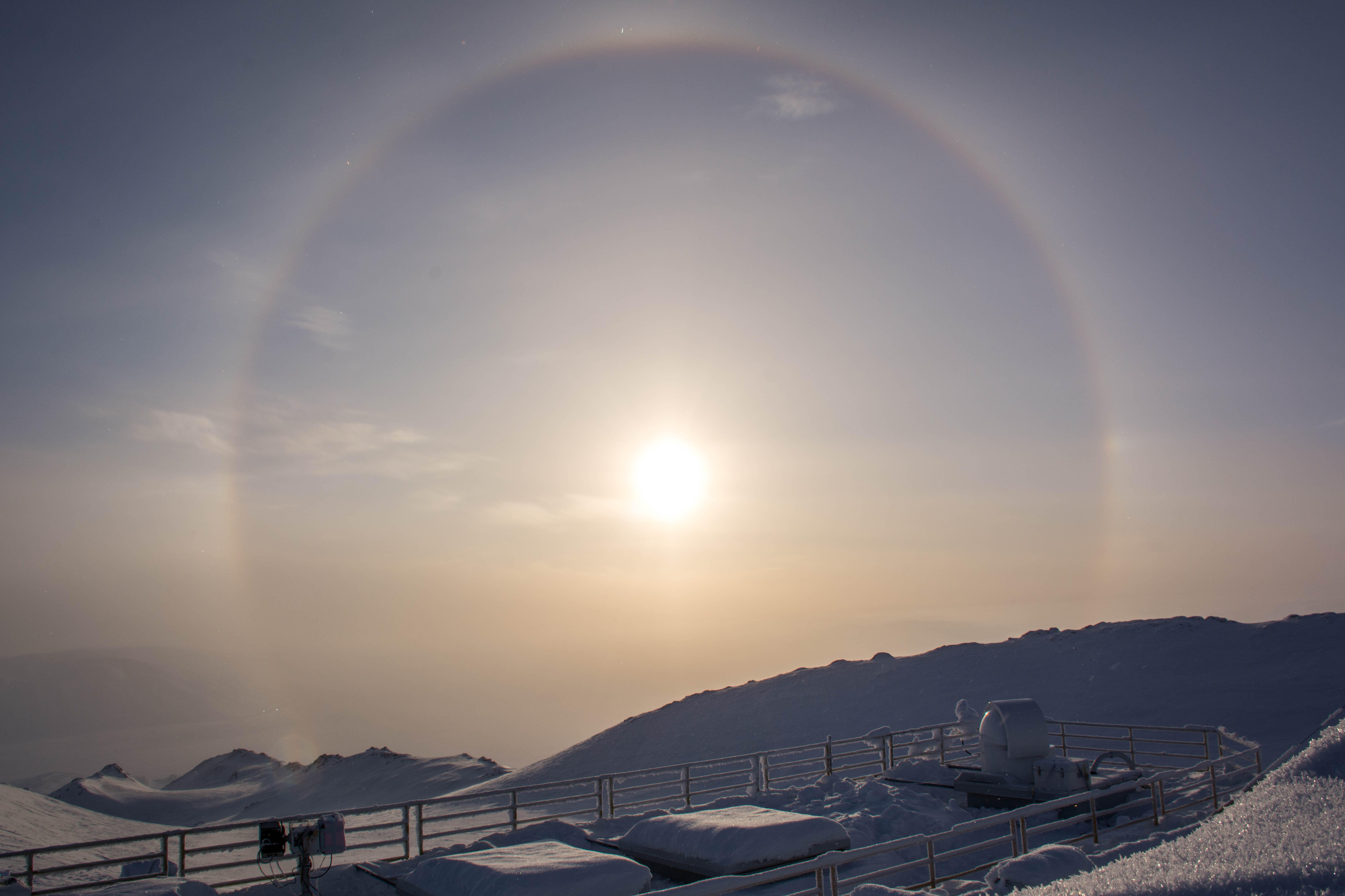 View of a solar halo from the PEARL Ridge Lab roof
