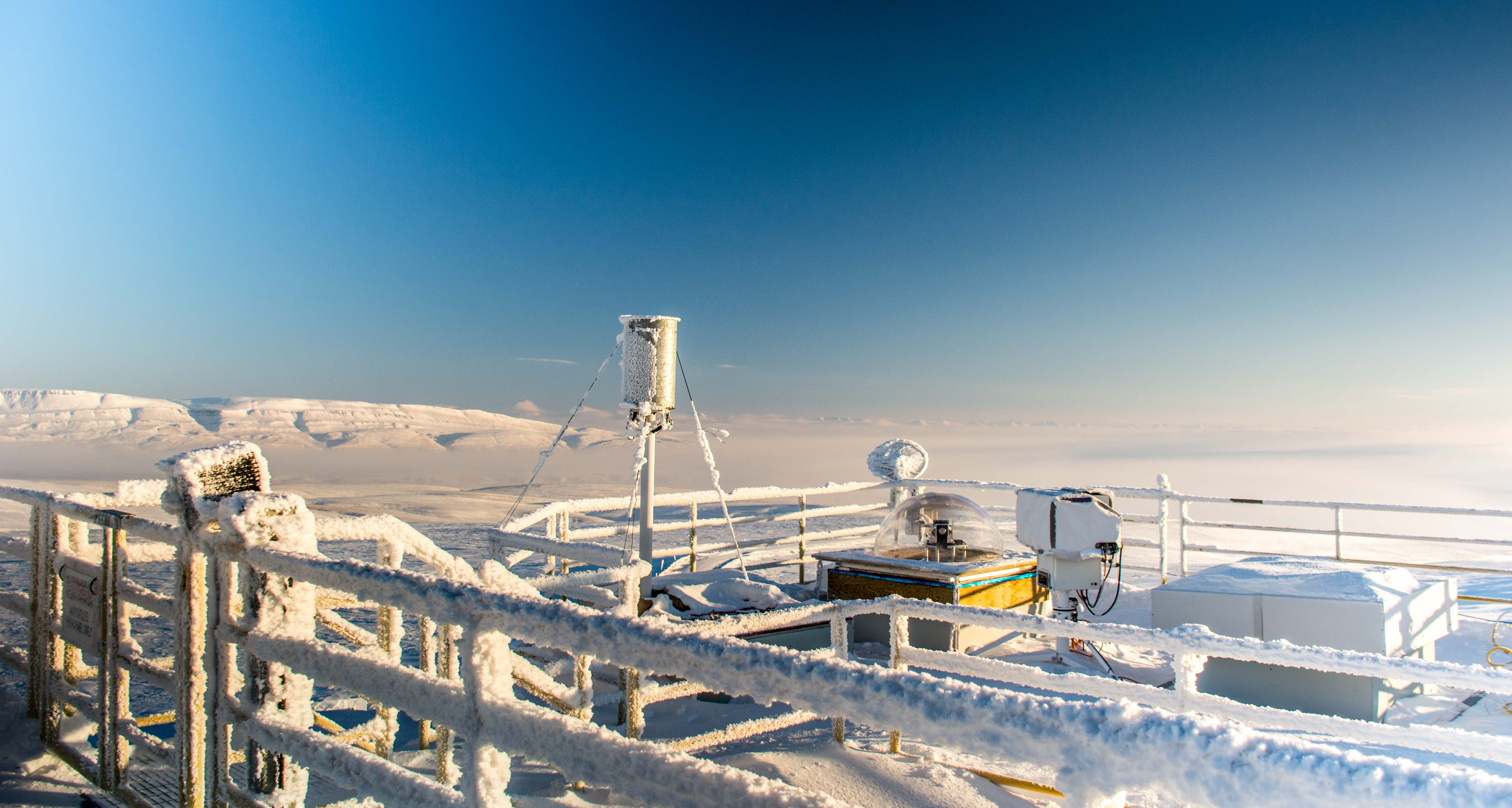 Roof of the PEARL Ridge Lab and Ellesmere Island scenery