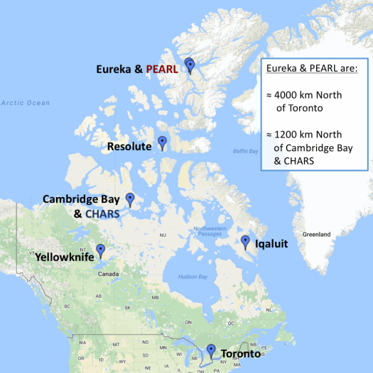 Map showing location of CHARS & Cambridge Bay and Eureka & PEARL