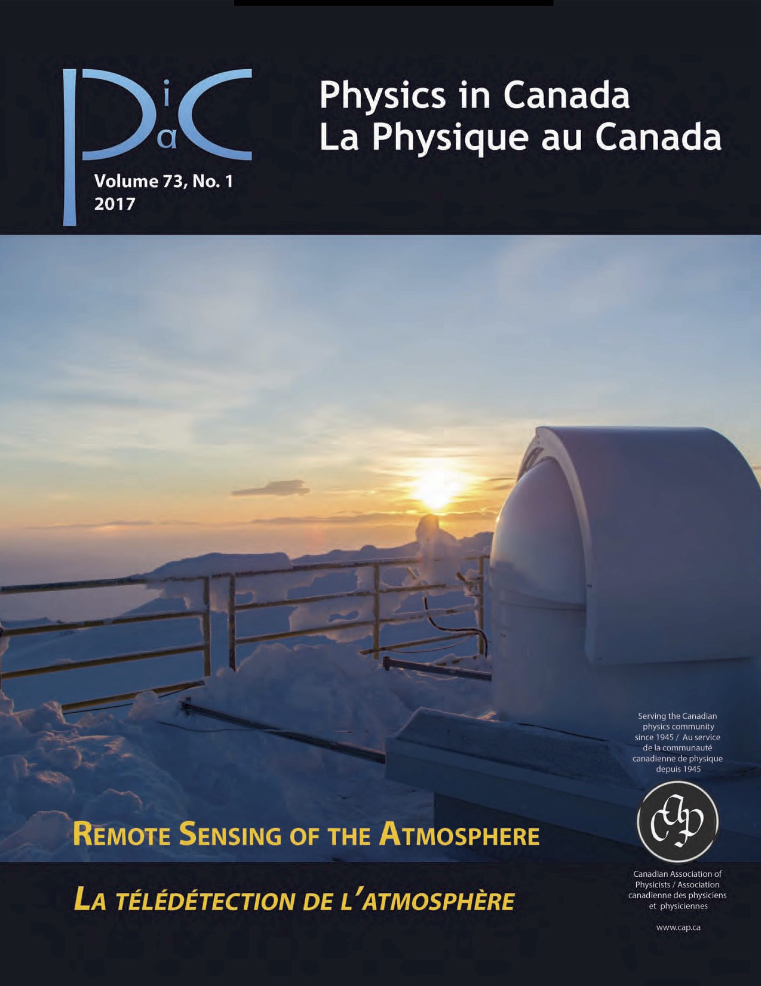 Physics In Canada Cover (2017 Issue 01), photo by Dan Weaver
