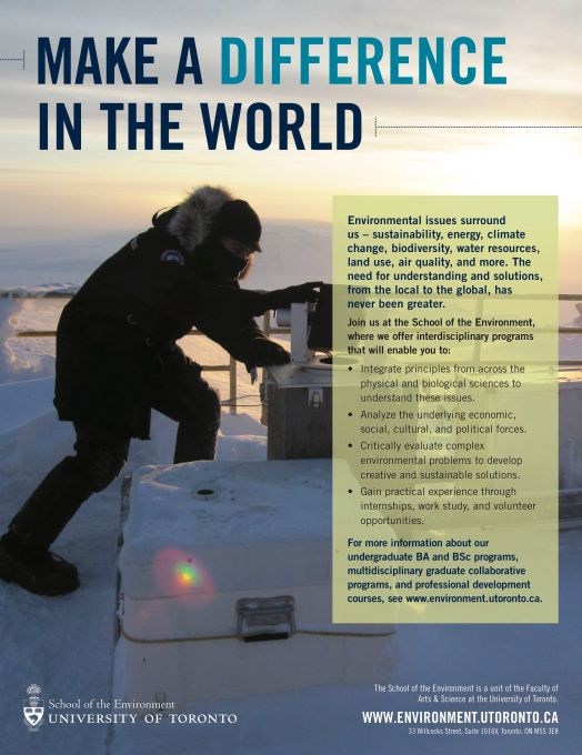 U of T School of the Environment ad featuring Dan Weaver on the roof of the Polar Environment Atmospheric Research Laboratory (PEARL) adjusting the mirror of a sun tracking instrument