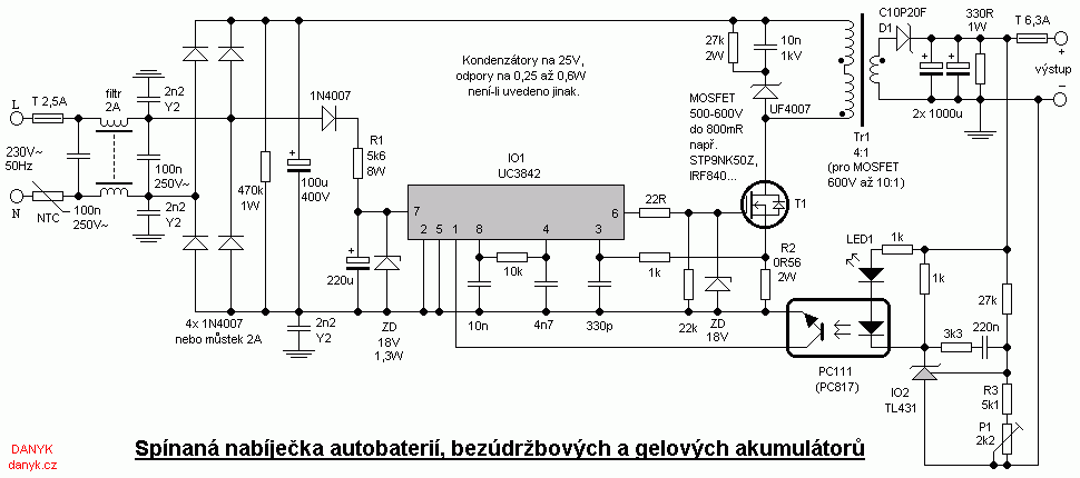 Switching charger for car batteries, sealed lead-acid