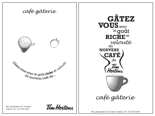 Tim Hortons newspaper ad