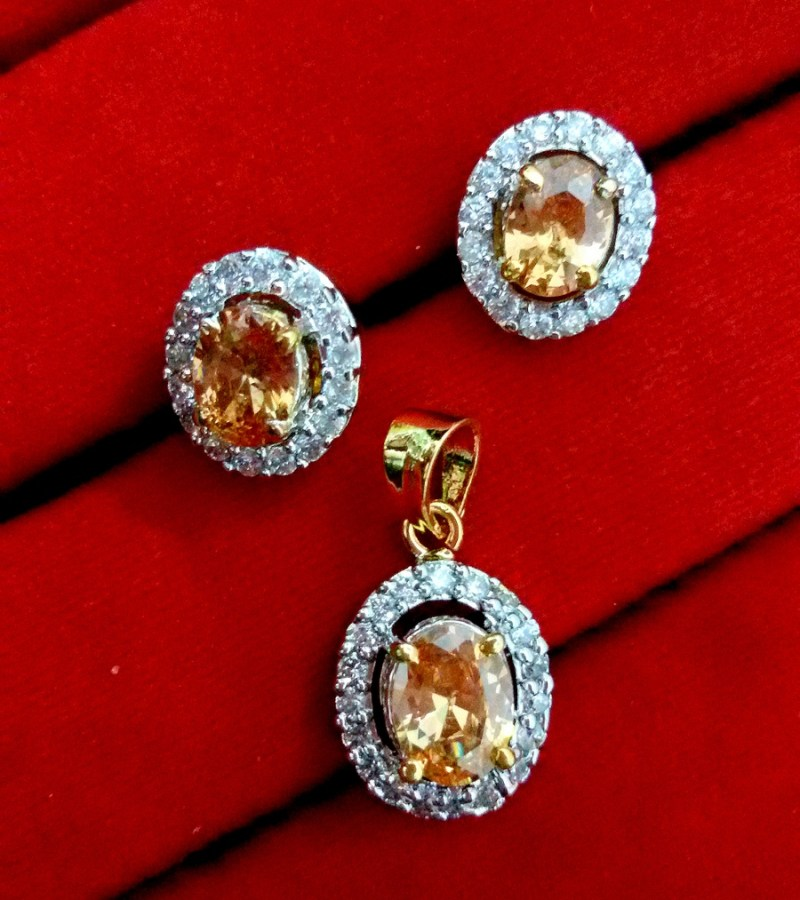 Daphne Amber Ad Pendant And Earrings For Women Gift For Valentine