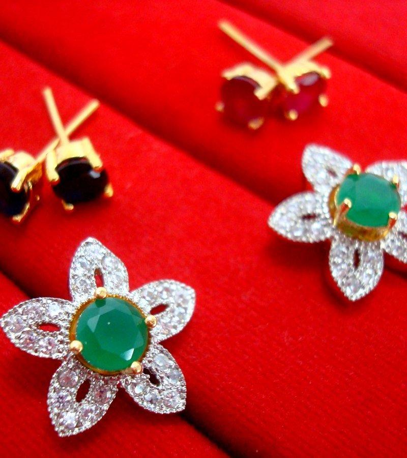f95706cf9 6 in 1 Cute Flower Changeable Studded Zircon Earrings - GREEN