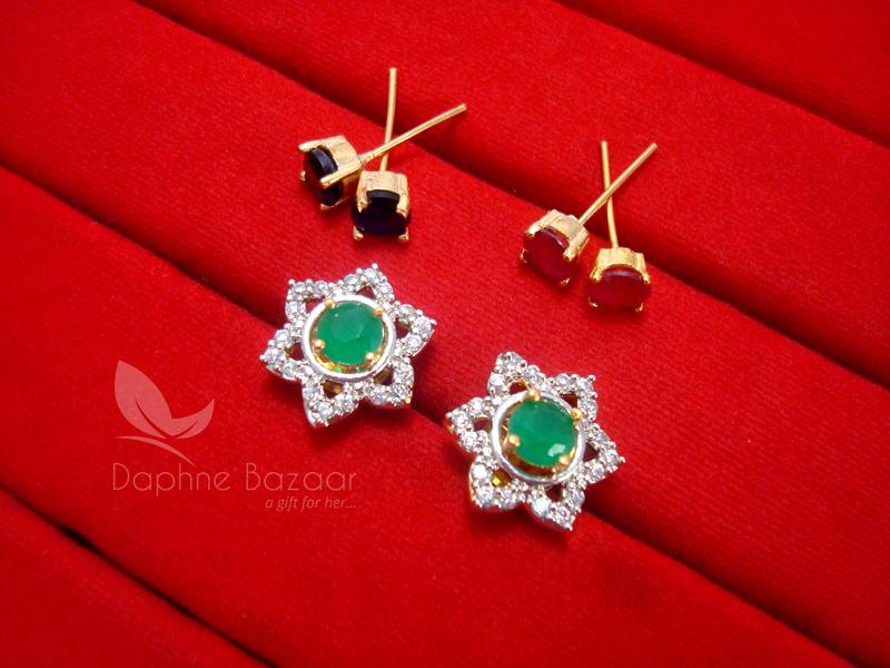 1c0987f10 CE27, 6 in 1 Cute Flower Changeable Studded Zircon Earrings- GREEN