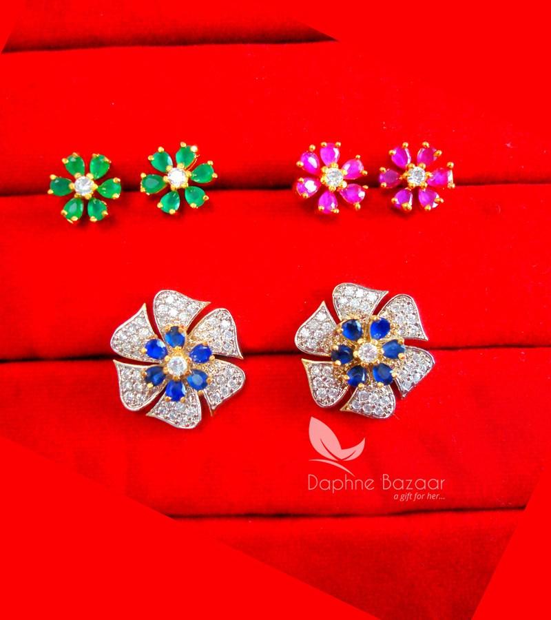 7e13fcd3a ... CE36, Daphne Zircon Flower Six in One Changeale Earrings for Women -  BLUE