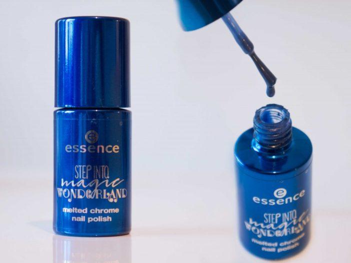 blue melted chrome essence polish nails