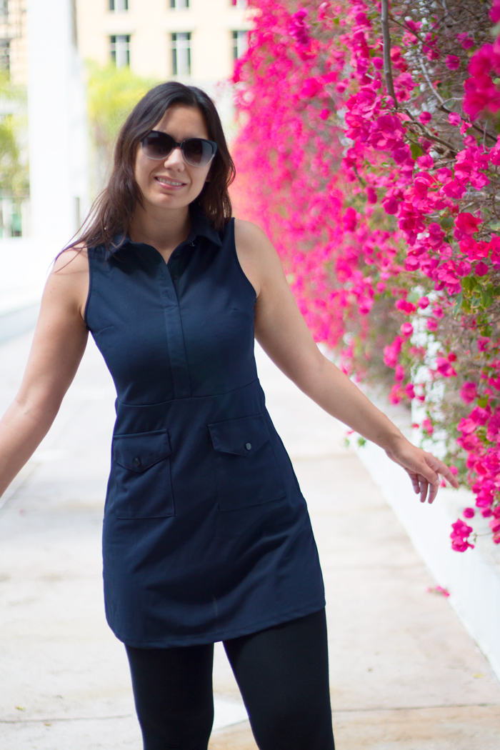 This dress is so flattering! Love it! Navy Mod Dress With Faux Pockets.