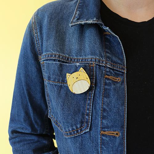 Kawaii Cat Pins handmade wooden pin.