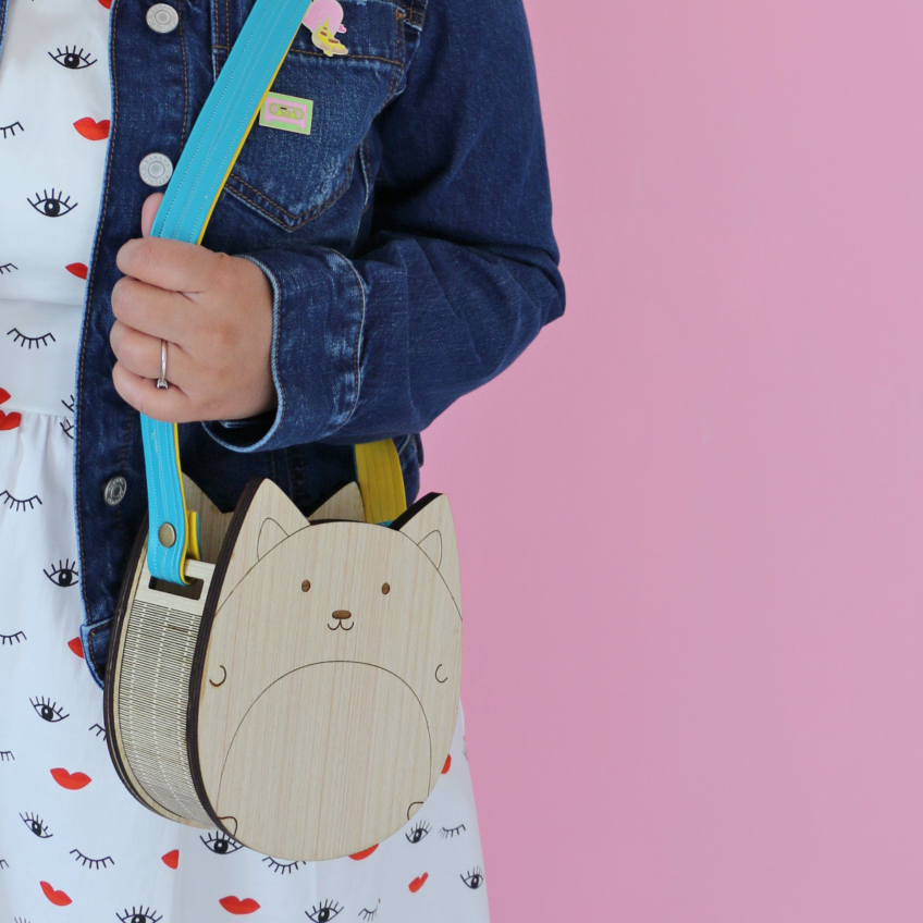 Wooden Cat Purse or Corgi Purse Kawaii Cute