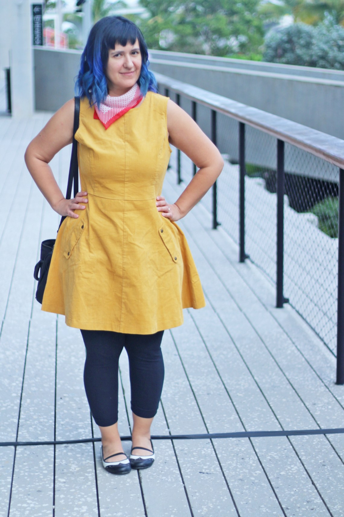 Mustard corduroy dress with red neck scarf and blue hair - Dapper Animals