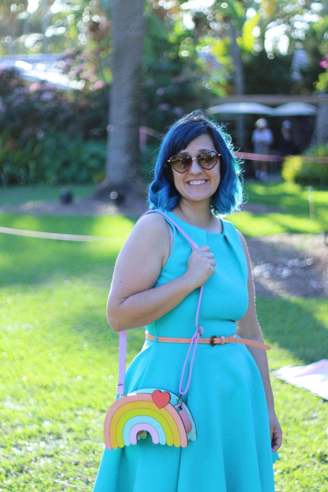 Cute rainbow bag made of wood and handpainted. Kawaii novelty purse.