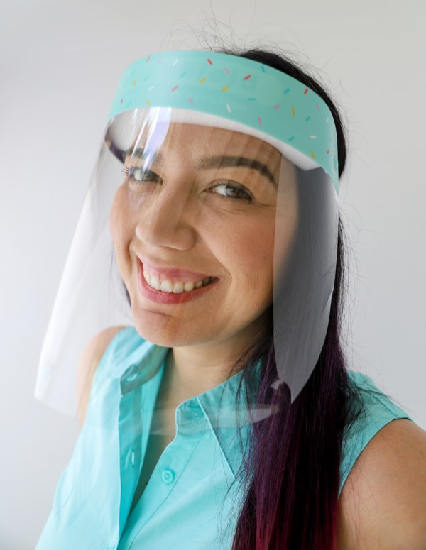 Sprinkles Pattern Protective Full Length Plastic Face Shield in Teal