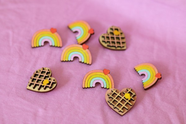 rainbow with heart pin brooch wooden hand painted